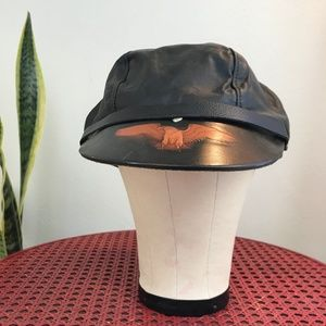Vintage Leather Motorcycle Eagle Adjustable Cap
